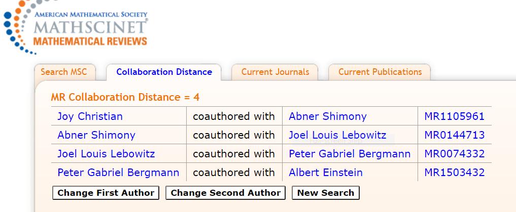 Collaboration Distance of Joy-Einstein